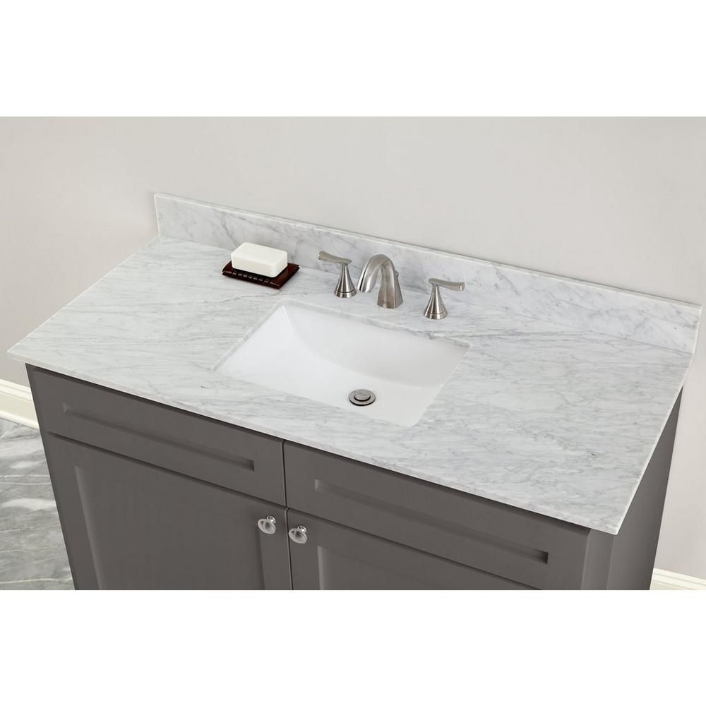 Bianco Carrara Marble 49 In Vanity Top In 2020 Vanity Top White Bathroom Cabinets Bianco Carrara