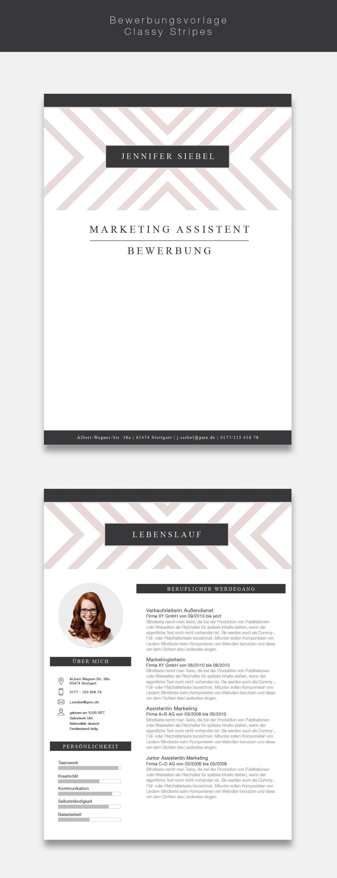 Ab Jetzt Neu In Unserem Shop Unsere Bewerbungsvorlage Cvtemplate Classy Stripes In Der Farbe Light Rose Professi Lebenslauf Deckblatt Bewerbung Bewerbung
