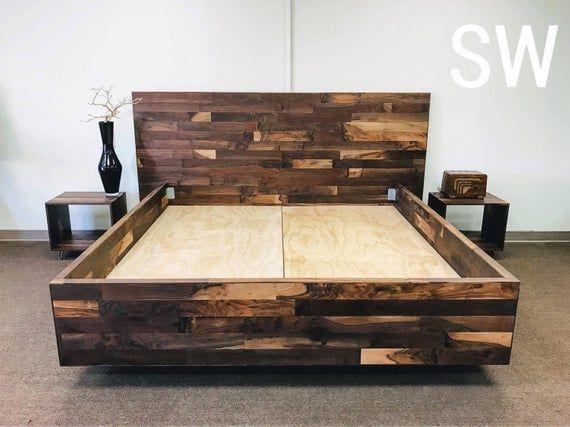 Walnut king size platform bedroom set