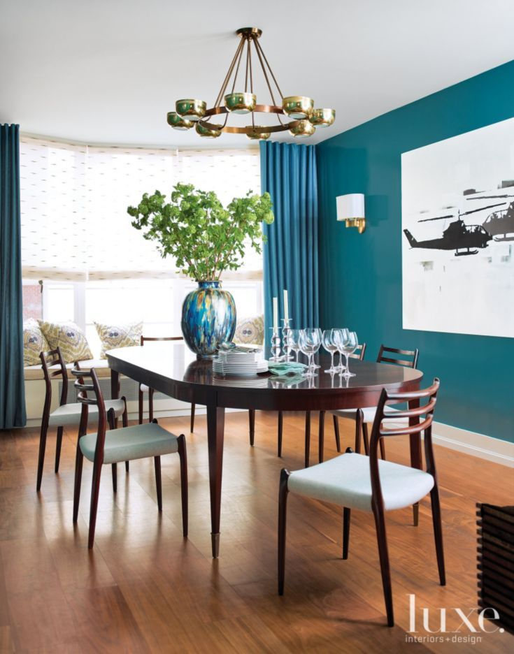 Contemporary Teal Dining Room With High Gloss Walls