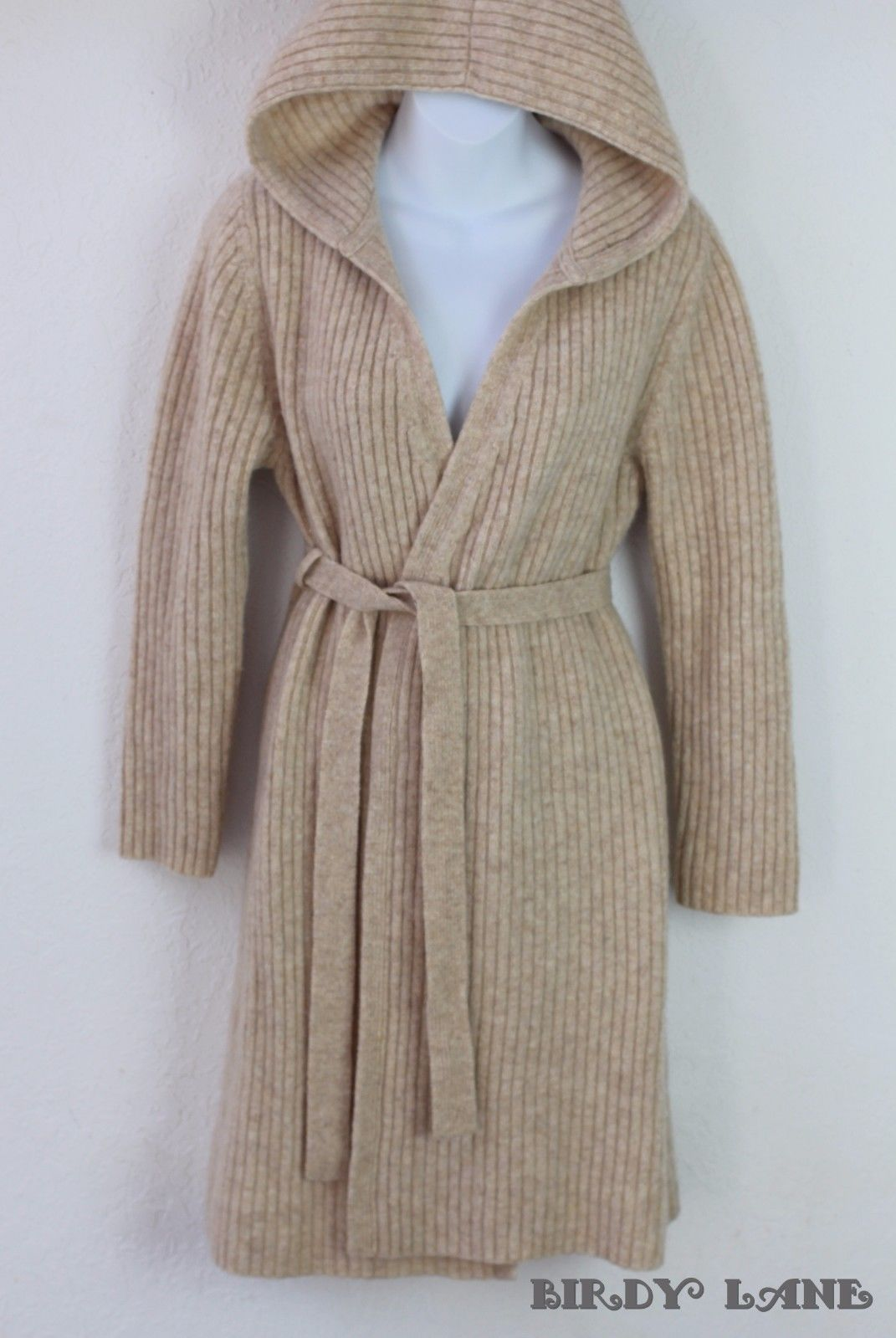 Oxford Fulham Long Wool Cardigan Sweater Hooded Open Front Belted ...