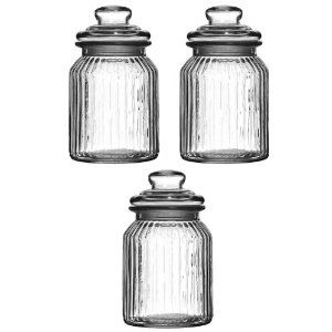Set Of Three Storage Jars 990Ml Ribbed Glass Tea Coffee Sugar Pleasing Kitchen Jar Set Design Inspiration