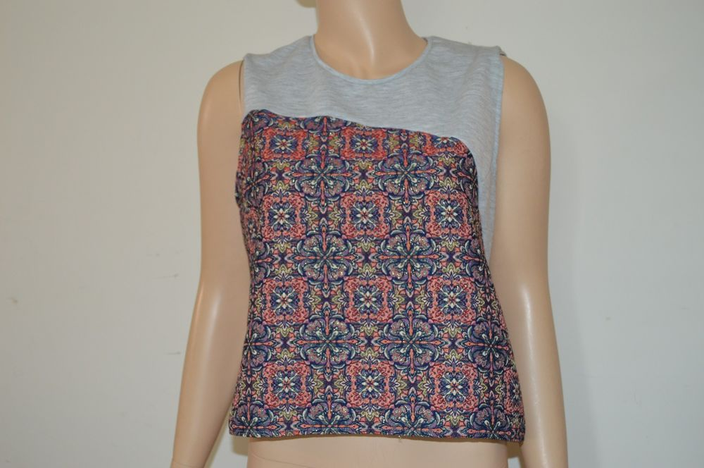 Zara USA L top sleeveless gray and sparkly floral artsy design blouse  #Zara #Blouse #Casual