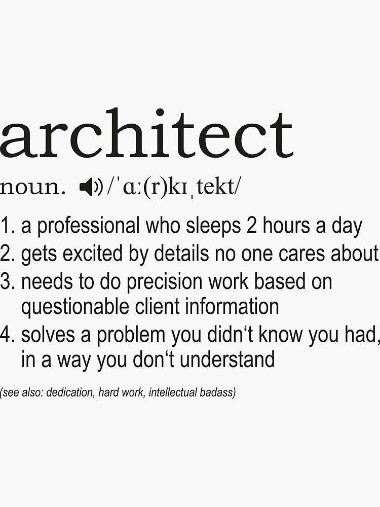 Architect Definition Sticker Architect Definition Design