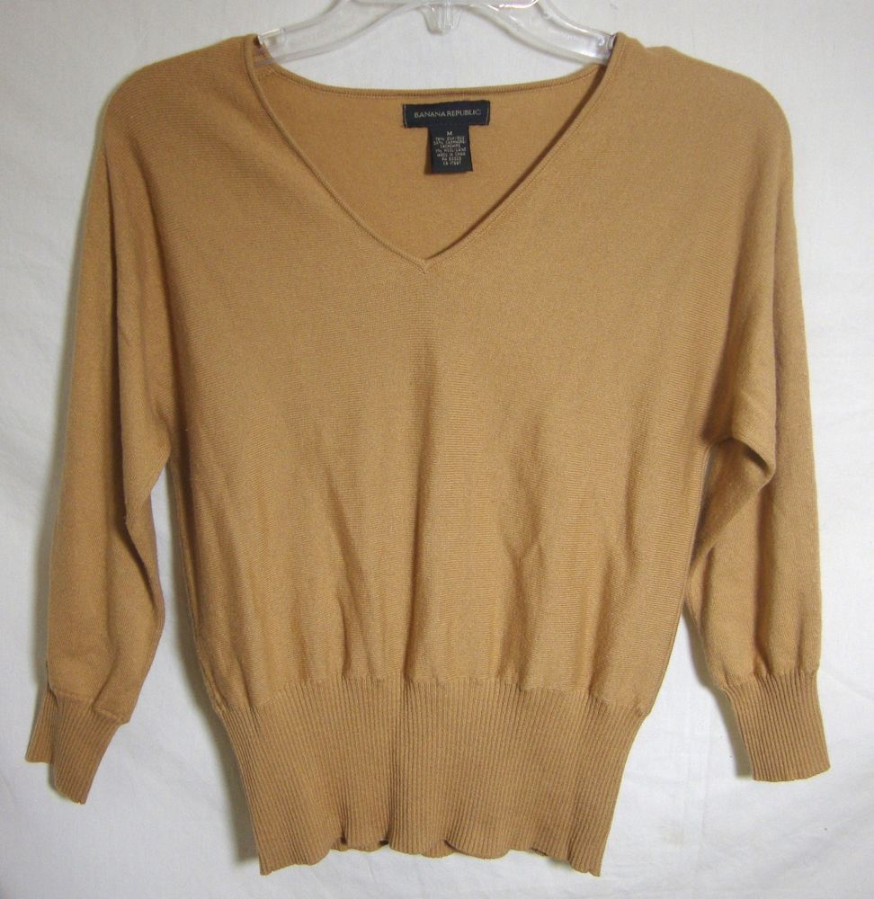 Banana Republic Cashmere Sweater Tan Pullover Plunge V Neck Long ...