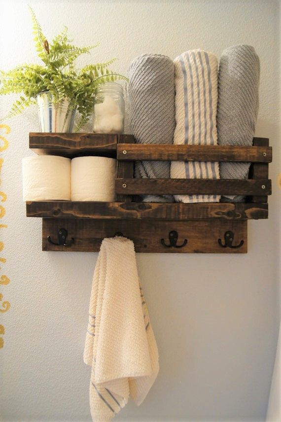Bath Towel Shelf Bathroom Wood Rack Hook Rustic Storage Float
