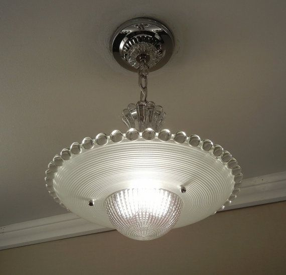 Vintage Lighting Art Deco Chandelier Candlewick 1940 S Frosted Glass Ceiling Light Lamp Fixture Rewired Lights