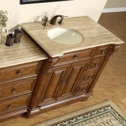 Silkroad Exclusive 58 Inch Stone Counter Top Bathroom Vanity