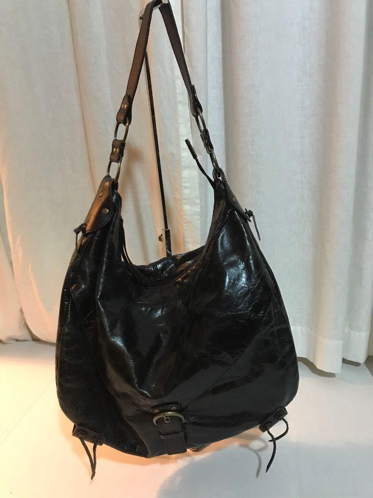 Authentic Hype Black Leather Front Flap Pocket Fringe Hobo Bag Purse Xl Ebay