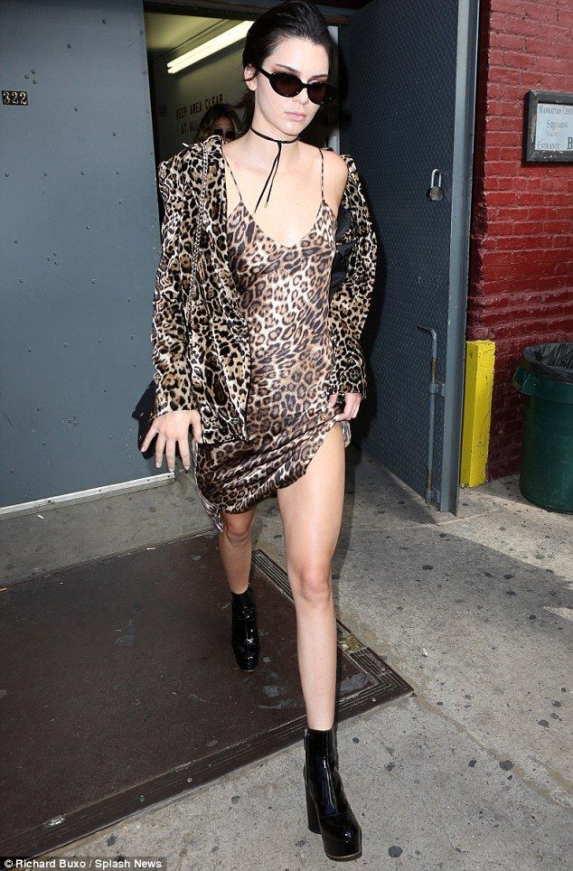 ba7ba5d12ecb Kendall Jenner wore a leopard print negligee as she exited the Marc Jacobs  show in NYC on Thursday