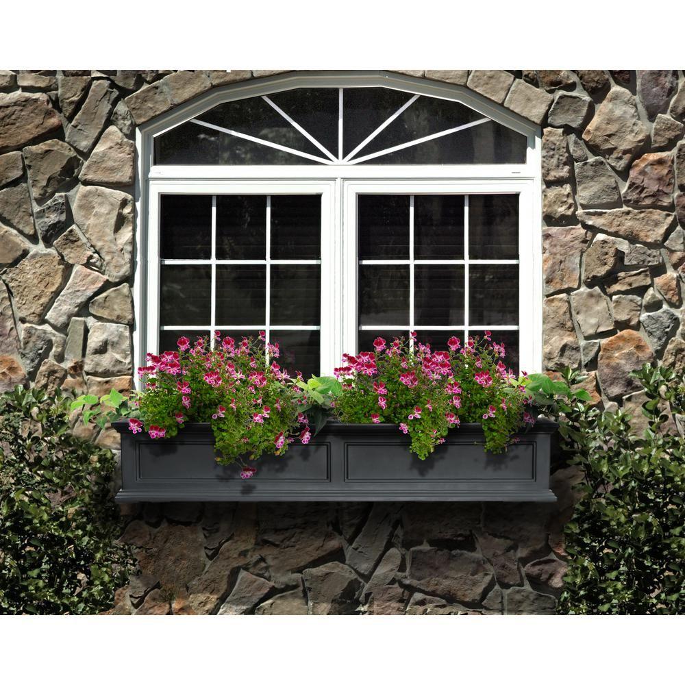 Mayne Self Watering Fairfield 11 In X 60 In Plastic Window Box 5824b Window Planter Boxes Window Planters Window Box Flowers