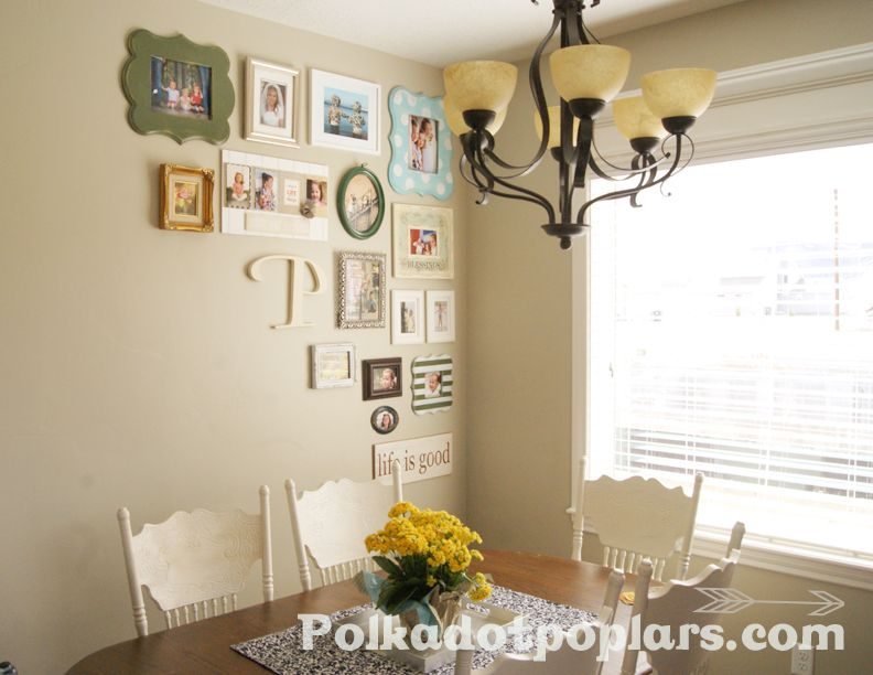 gallery wall, Breakfast room :) Love the different color frames and ...