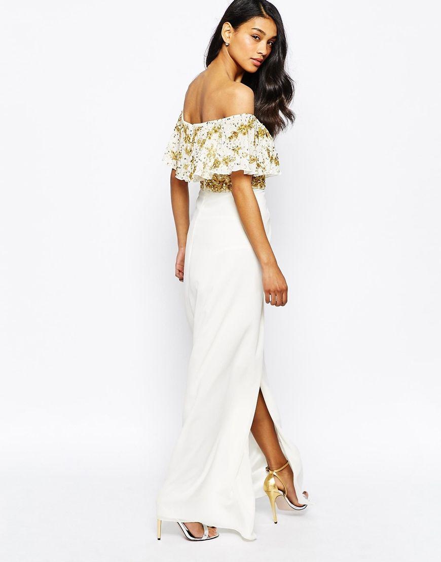 56e6d0678bd3 Virgos Lounge Tiffany Embellished Off Shoulder Maxi Dress With Thigh Split