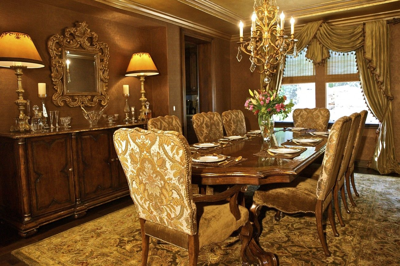 Gold And Burgundy Dining Room