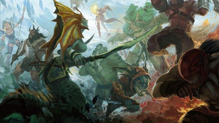 Dota 2 Heroes Clash Battle Fight Naga Siren Slark Bloodseeker Axe