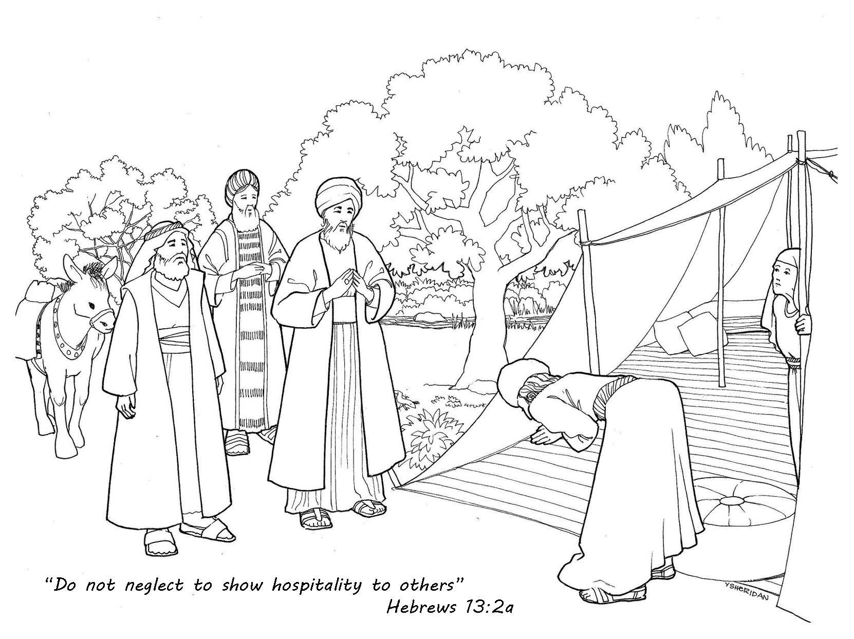 Hebrews 13 2 Hospitality Coloring Page Bible Coloring Pages