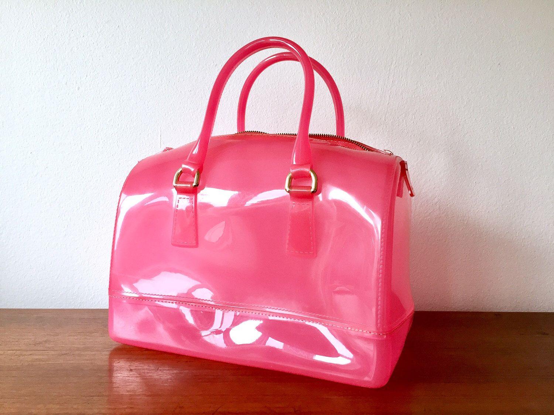 Pink Plastic Purse Hot Top Handle Bag Semi Transparent Shiny Satchel