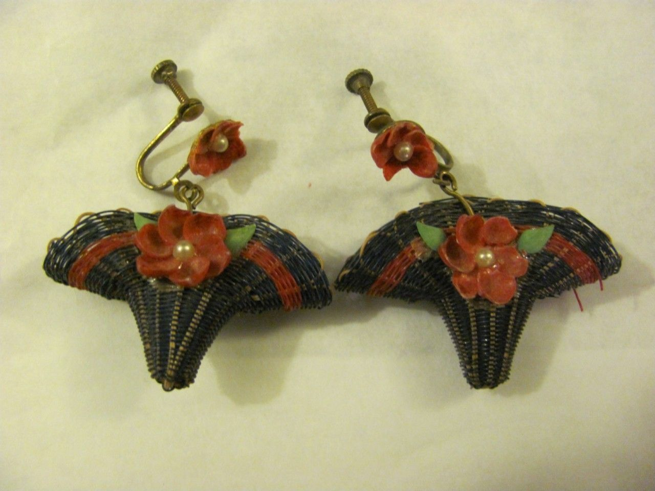 Vintage Pair of Blue Basket & Red Flower Screw Type Earrings