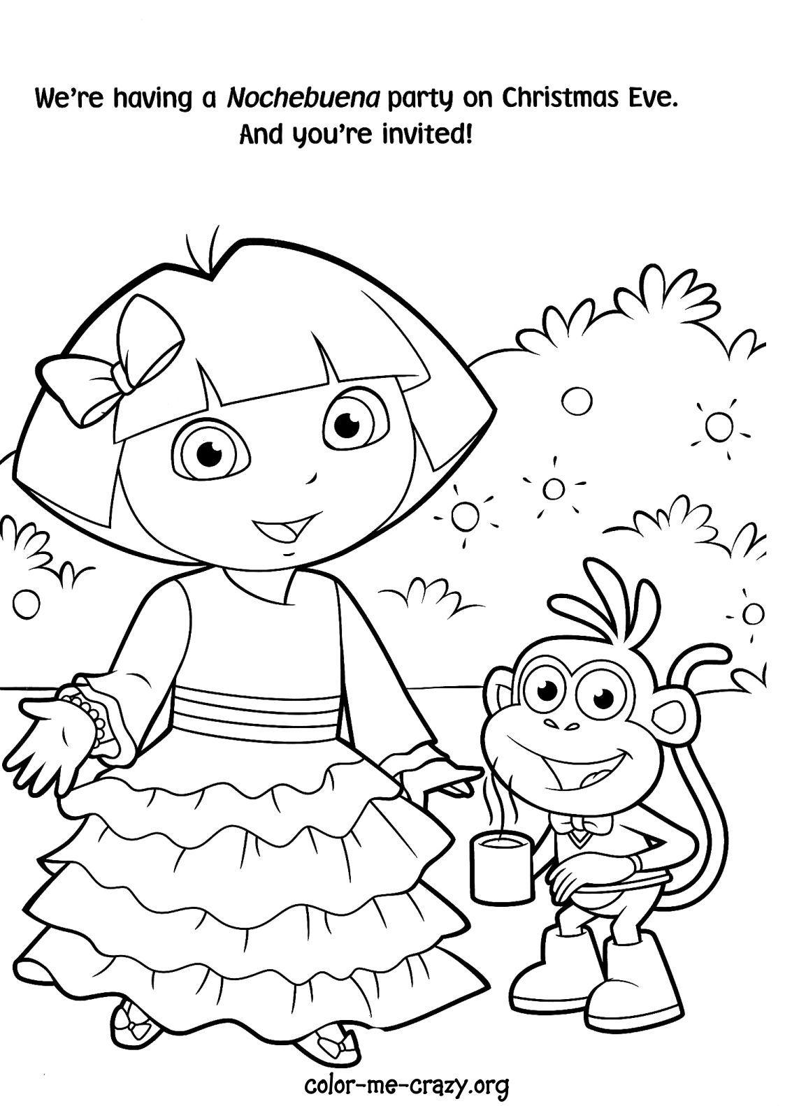 Dora Christmas Coloring Pages Christmas Coloring Pages Dora Coloring Kids Printable Coloring Pages