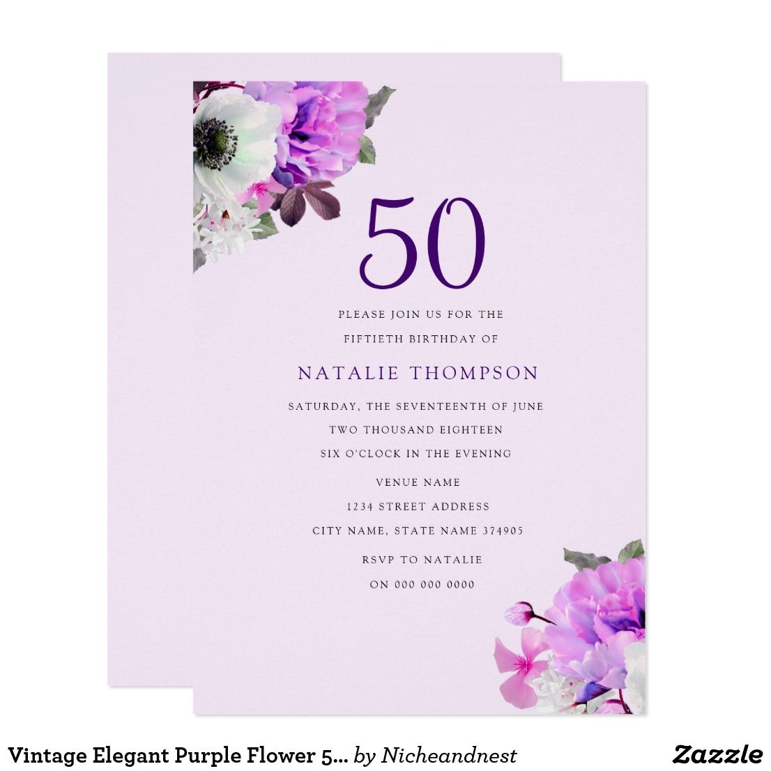 Vintage Elegant Purple Flower 50th Birthday Invite Pinterest