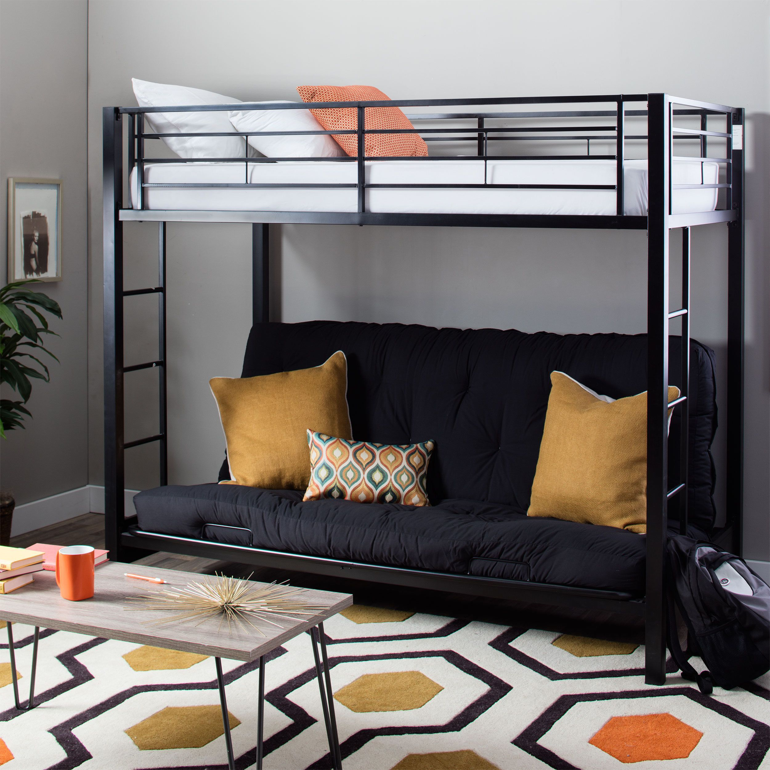 Modern Black Steel Twin Size Bunk Bed With Futon Futon Bunk Bed