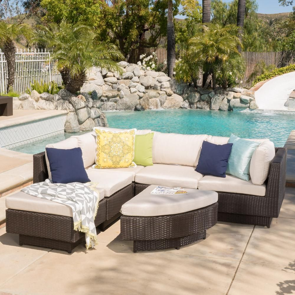 Noble House 6 Piece Wicker Patio Sectional Seating Set With Tan
