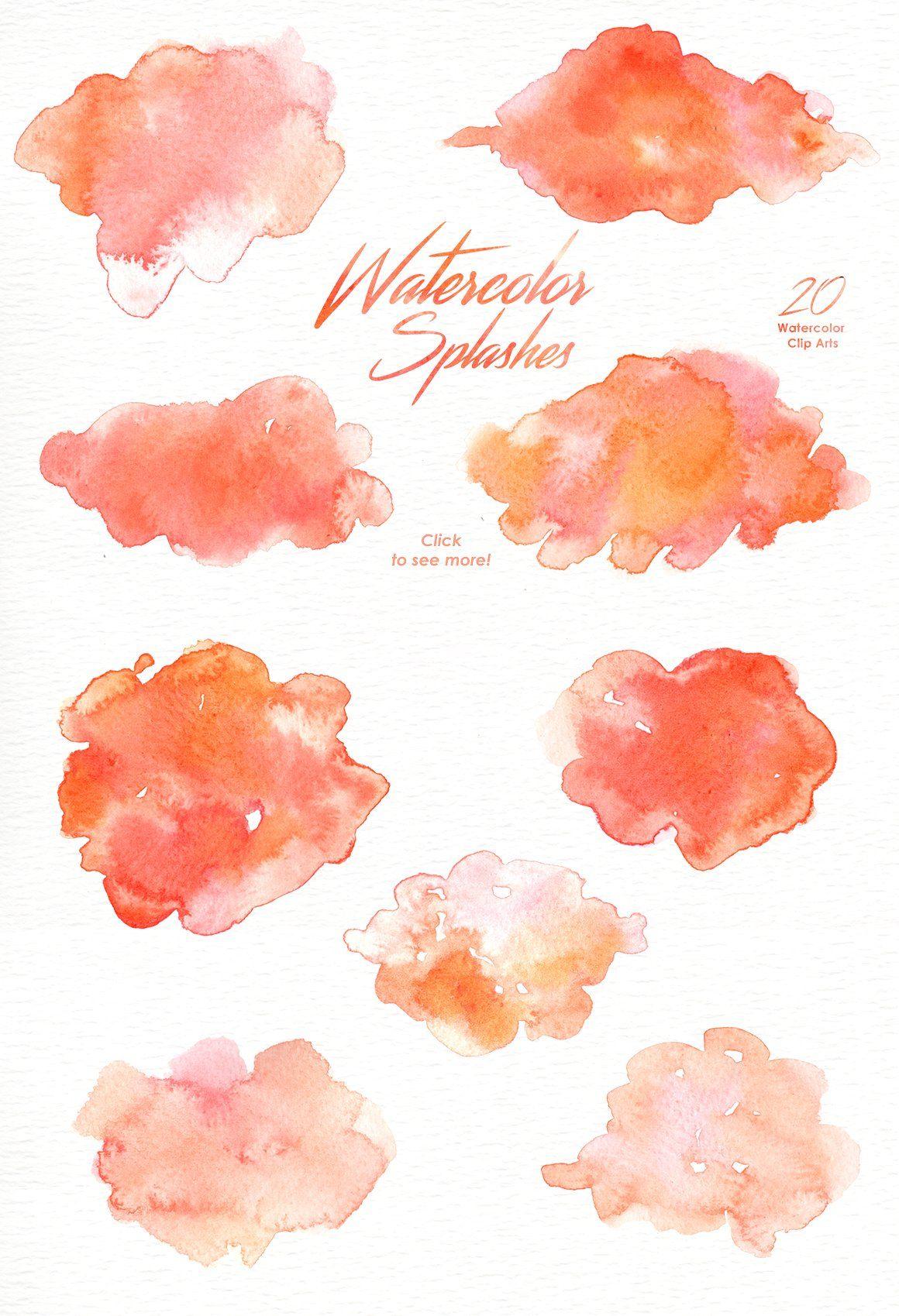 Watercolor Brush Strokes Clipart Rose Gold Glitter Splash Paint