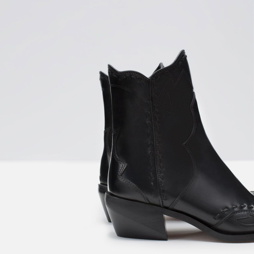 65f8f08dfd3 Image 3 of FLAT LEATHER COWBOY ANKLE BOOTS from Zara | so fly ...