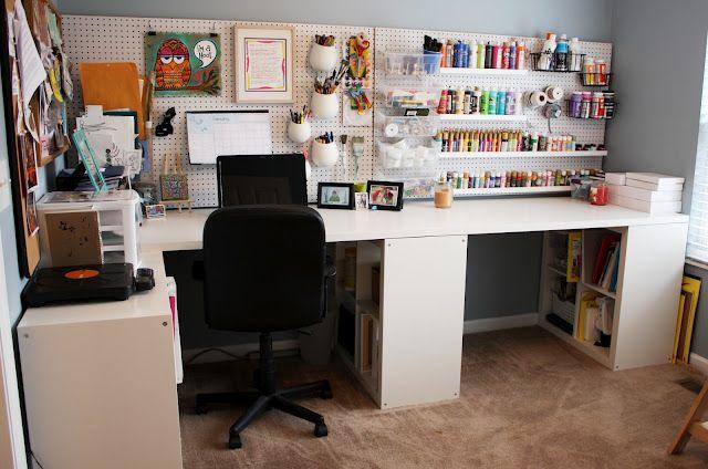 Neat Diy Art Studio With Peg Board And Ikea Furniture Yay