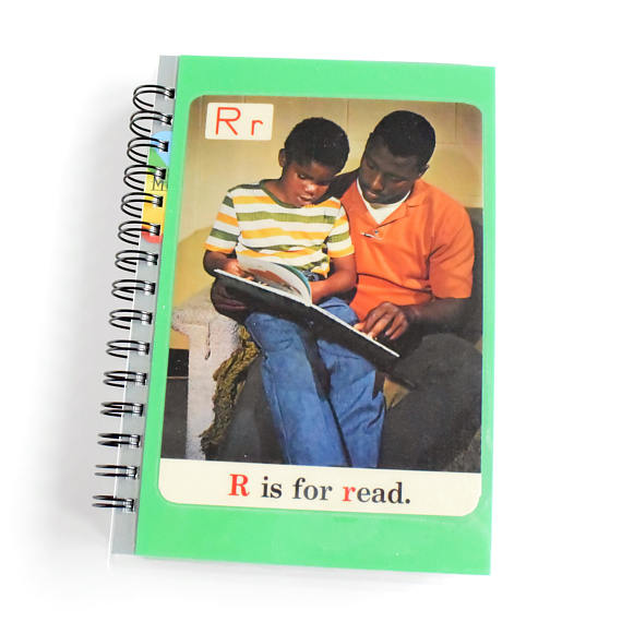 R Is For Read 1970s ABC Flash Card Notebook