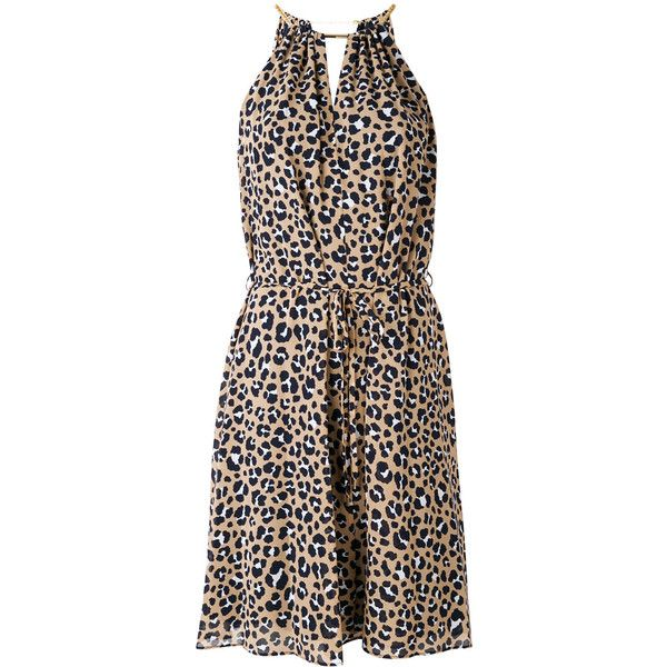 324cfc6884ba Michael Michael Kors leopard halter dress ($193) ❤ liked on Polyvore  featuring dresses, tan, tan cocktail dress, halter dress, leopard print  halter dress, ...