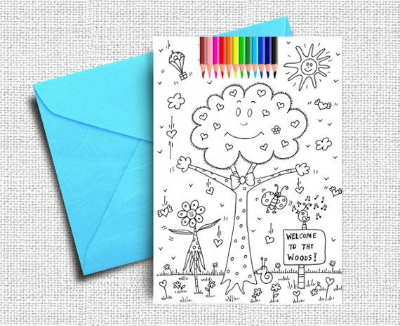 Kids Coloring Cards Greeting Cards Woods Coloring Coloring Etsy Greeting Card Book Coloring For Kids Coloring Books