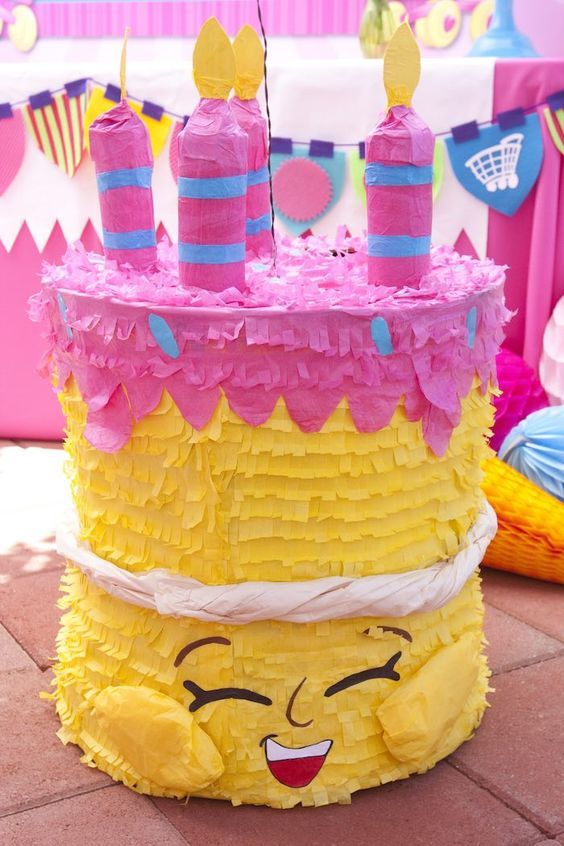 pinata from a shopkins birthday party via karaus party ideas