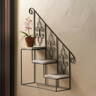 Black Stair Steps Wall Shelf Three Pretty Platforms Are Ready To Showcase Your Green Thumb This Stu Black Staircase Unique Wall Decor Wall Display