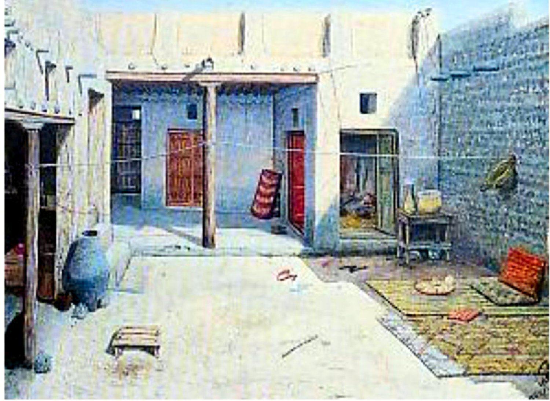 الكويت 1930م هذا نموذج لبيت كويتي في الثلاثينيات الفنان ايوب حسين الايوب Art Painting