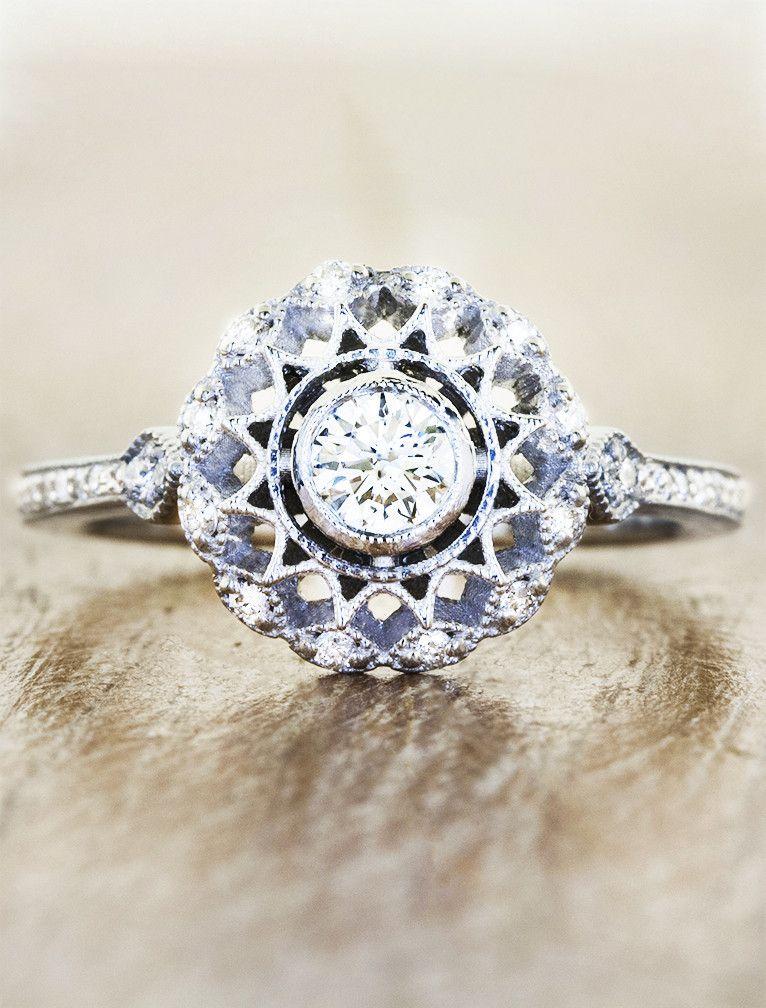 Vintage Inspired Diamond Engagement Ring Womens Engagement Rings Pink Sapphire Ring Engagement Vintage Engagement Rings