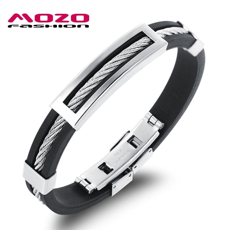 Mens Bracelet Gay Pride Stainless Steel Silicone Bracelets Man Casual Hand Bracelet Trend Male Jewelry Accessories Bracelets & Bangles