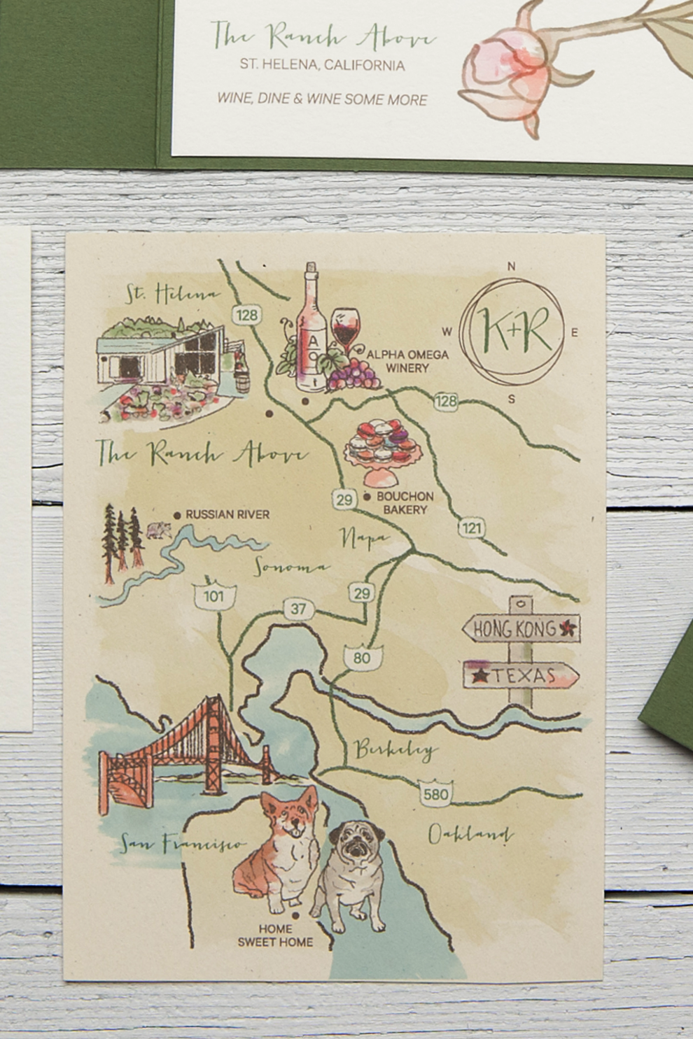 Custom Wedding Map Featuring The San Francisco Bay Area And Napa Wine Country
