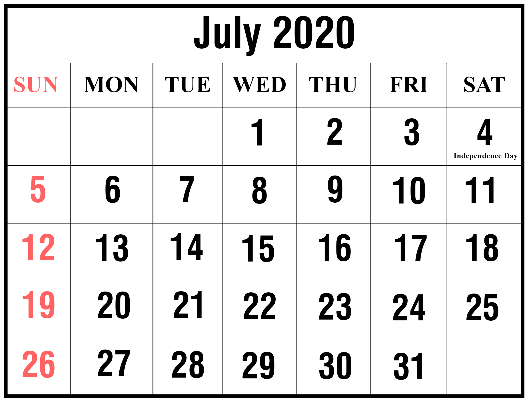 Printable July 2020 Calendar Excel Calendar