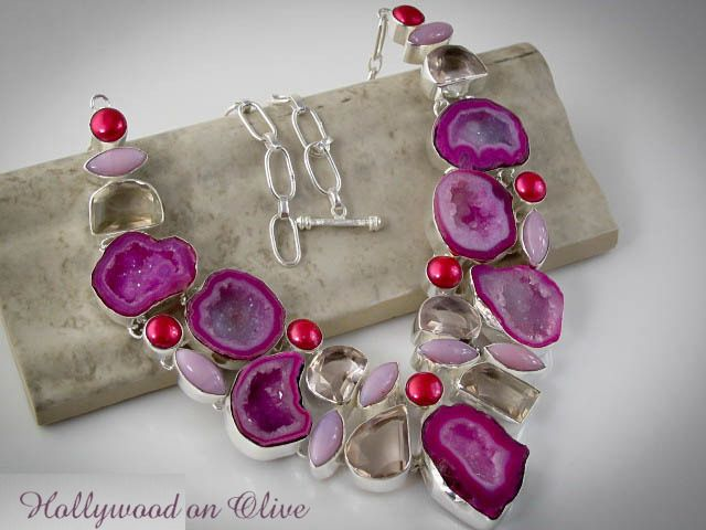 Pink Agate Geode Drusy Rose Quartz Necklace
