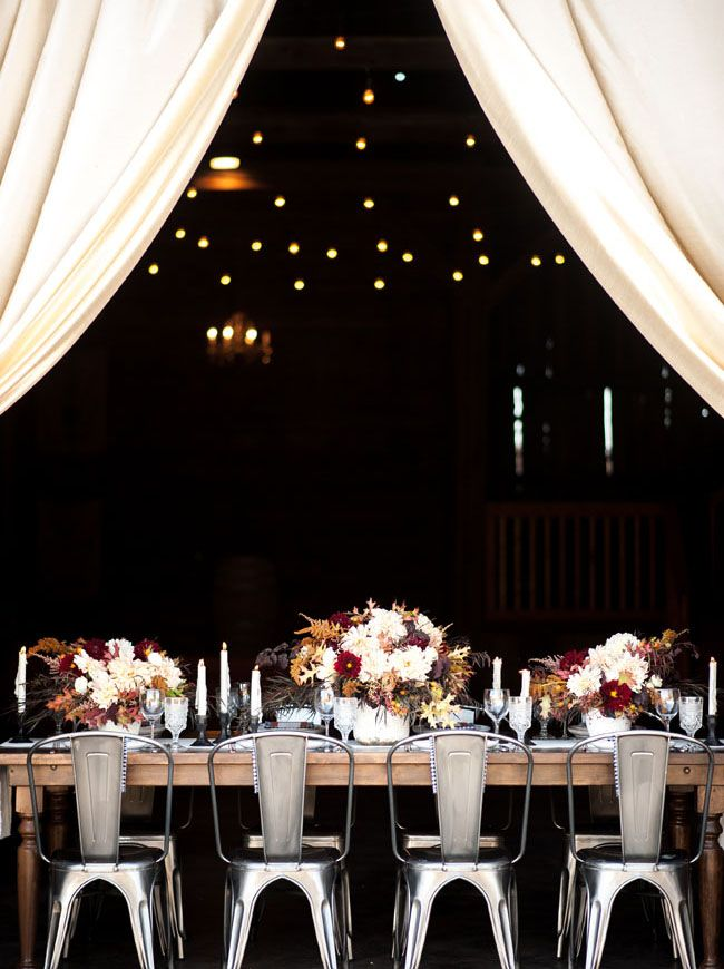 Fall inspired tablescape with romantic drapes