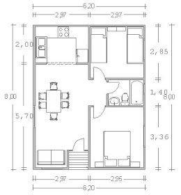 Caba a prefabricada de 2 habitaciones 1 cuartos de ba o for Planos de cocina americana