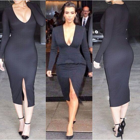 V neck Long Sleeves Split Over knee Length Dress   Women