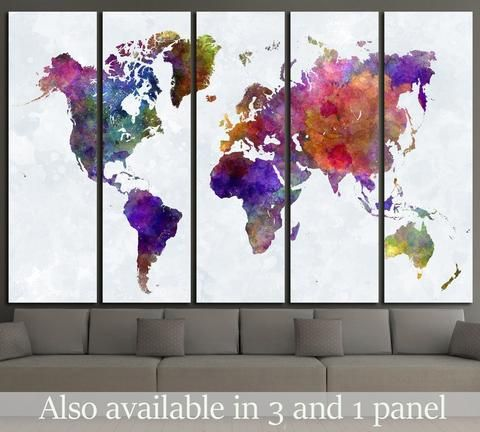 Watercolor World Map 1459 Canvas Print World Map Wall Art Water Color World Map Map Wall Art