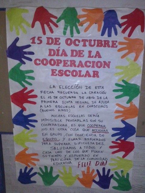 15 De Octubre Día De La Cooperación Escolar Carteleras