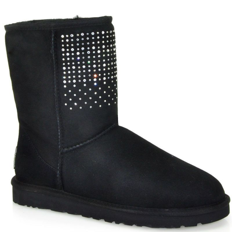 UGG WOMENS CLASSIC SHORT BLACK BLING SUEDE SPARKLES US 6 BOOTS 1003890 NEW  NIB