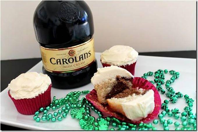 Marbled Irish Cream Cupcakes with Irish Cream Frosting