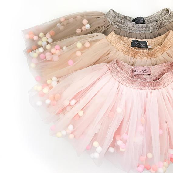 b0285acd9 Blush (rose gold) tutu for girls with pastel pom poms