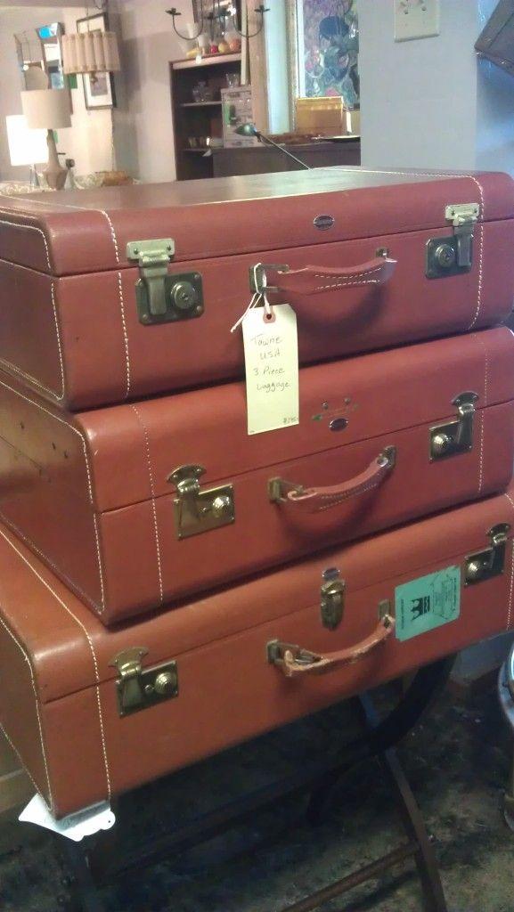 Gorgeous vintage leather suitcase set