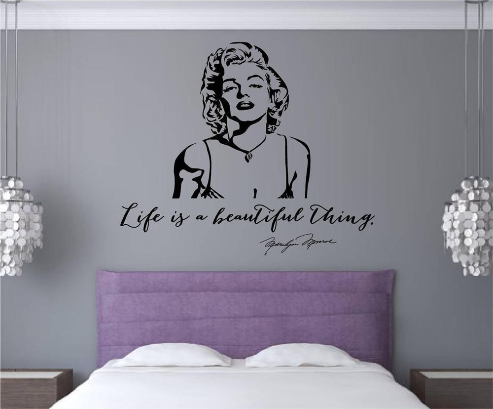 Marilyn Monroe Quote Life Is Beautiful Vinyl Decal Wall Decor - Custom vinyl stickers letters